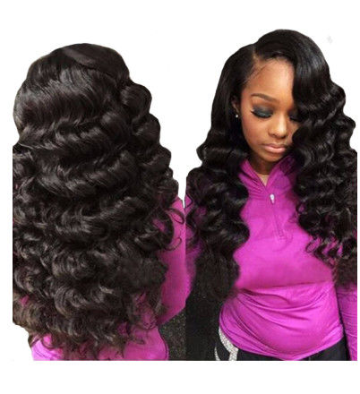 Three Part 100 Peruvian Virgin Remy Hair Loose Wave Weave Natural Color