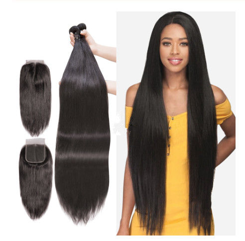 Unprocessed Peruvian Virgin Human Hair Extensions 40 Inches Silky Straight