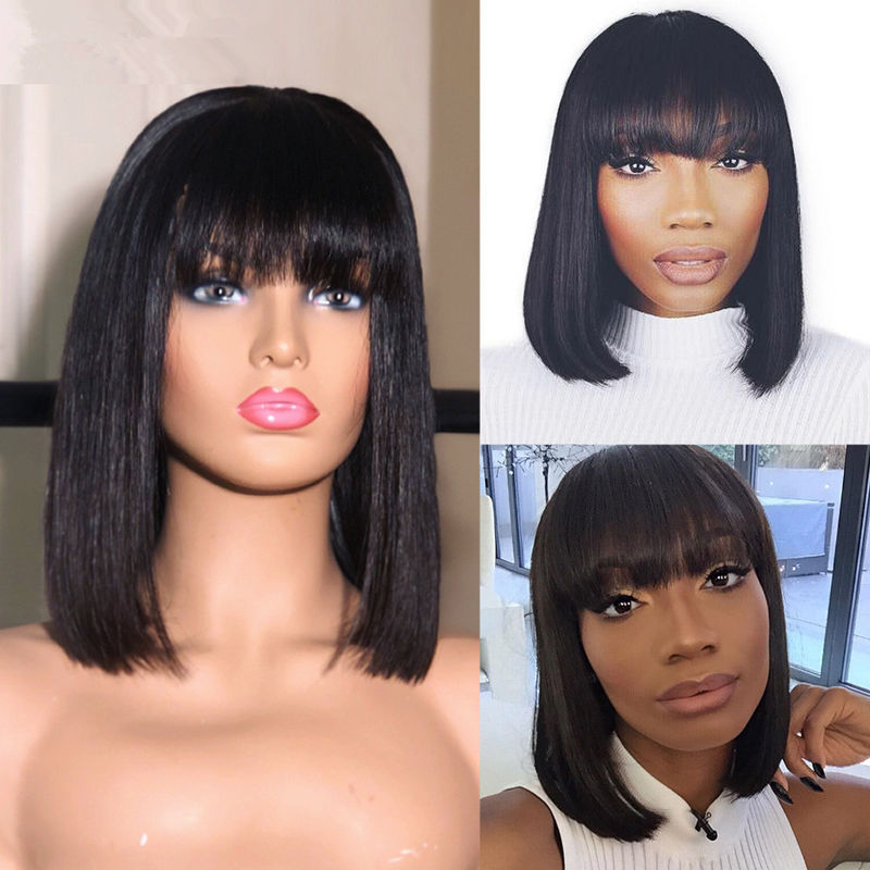 Short Straight Human Hair Full Lace Bob Wigs With Baby Hair 12 Inch